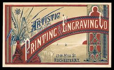 OBVIOUSLY from the Aesthitic Movement! Artistic Printing & Engraving Company, c. Business Card Displays, Business Card Design, Vintage Ephemera, Vintage Cards, Vintage Signs, Vintage Seed Packets, Vintage Business Cards, Vintage Typography, Vintage Branding