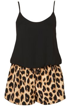 Black Cami and Leopard Print Shorts.