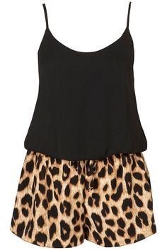 Black Cami and Leopard Print Shorts.