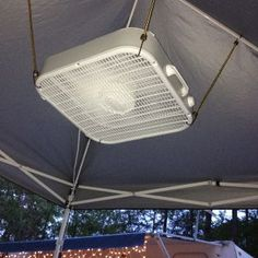"Fan being held up with bungee cords to ceiling of tent...gives a new meaning to ""ceiling fan"" Camping World, Oregon, National Parks, Lighting, Home Decor, Homemade Home Decor, Light Fittings, Interior Design, Decoration Home"