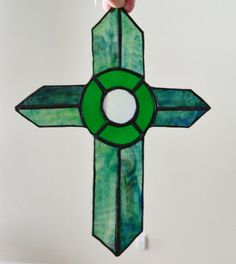 Green Stained Glass Cross Suncatcher by uniquenique on Etsy, $30.00