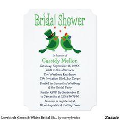 Lovebirds Green & White Bridal Shower 5x7 Paper Invitation Card