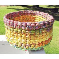 "Popcorn Bowl Pattern: 48.98  A stunning bowl great for a centerpiece, a fruit bowl or a bowl cozy. Create your own yarn with 2 1/2"" fabric strips and 300' of Clothesline, below, or cotton piping. Then follow the easy crochet instructions to make this 12"" x 8"" bowl."
