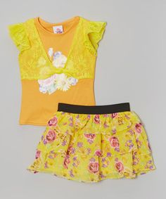 Love this Real Love Orange Vest Top & Floral Tiered Skirt - Infant, Toddler & Girls by Real Love on #zulily! #zulilyfinds