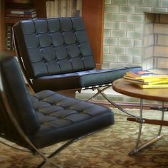 The Exhibition Chair. Designed by Ludwig Mies van der Rohe. Modern Furniture Collection - Man cave .