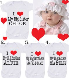 I love my BIG Brother Sister  etc  bodysuit EXCLUSIVE  RANGE choose red or pink heart also on Etsy, £4.99