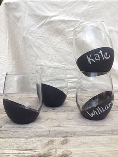 Whatever you decide to toast, toast it in style with chalkboard stemless wine glasses. Also stylish as party or wedding favors. Guests mark them