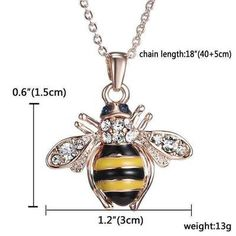 Euforia Jewels Bee Rose Gold Pendant Necklace Elements Crystal Necklaces For Women Rose Gold Pendant, Gold Pendant Necklace, Crystal Pendant, Pendant Jewelry, Bee Necklace, Rhinestone Necklace, Necklace Chain, Initial Necklace, Pearl Necklace