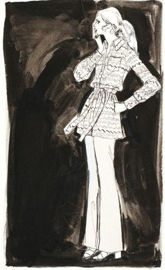 Fashion illustration by Mimi Monette (1914-2010), 1970s, daywear on dark backgrounds, Ink, gouache, pencil.