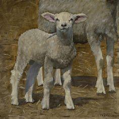 Spring Lamb by John Reynolds Sheep Paintings, Spring Lambs, Sheep Art, Sheep And Lamb, Jesus Art, Painting & Drawing, Painting Portraits, Plate Art, Christian Art