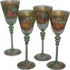 Set of 4 Antique Moser Decorated Scenic Venetian Green Glass White Wine Stems
