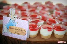 Whimsical-Peter-Rabbit-1st-Birthday-Cheesecake-Cups #babyshowerideas4u #birthdayparty #babyshowerdecorations #bridalshower #bridalshowerideas #babyshowergames #bridalshowergame #bridalshowerfavors #bridalshowercakes #babyshowerfavors #babyshowercakes