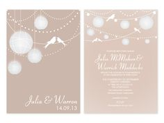 Lanterns Personalised Wedding Invitations (available in many colours)