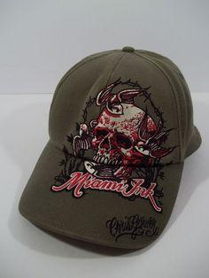 MIAMI INK CAP/HAT SIGNED CHRIS GARVER DISTRESSED KHAKI GREEN #BIODOMESHEADGEAR #BaseballCap