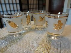 Vintage Libbey Golden Leaf Shot Glasses Set of Four | SelectionsBySusan - Kitchen & Serving on ArtFire