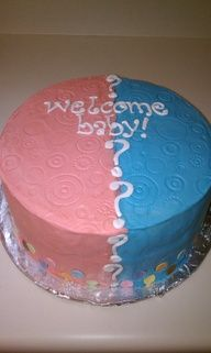 baby gender reveal party cake ideas - Google Search