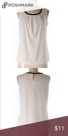 Banana Republic Factory Store Sleeveless Top, S Banana republic factory store sleeveless top, size small. This is a scoop neckline sleeveless tank, ivory color, with black detail. Keyhole back closure- super cute staple for Spring! Measurements: 36 inches across chest, 22 inches long. Materials: 95% polyester, 5% Spandex Banana Republic Tops Tank Tops
