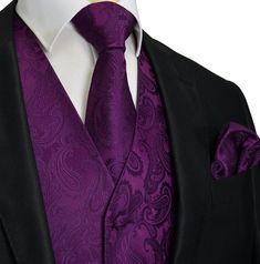 Wedding Suits Crown Jewel Purple Paisley Tuxedo Vest Set - Spice up your formal suit. This tuxedo vest set includes the vest, a matching necktie and pocket square. Full back. Tuxedo Wedding, Wedding Suits, Wedding Attire, Wedding Tuxedos, Groom Attire, Groom And Groomsmen, Purple Groomsmen, Groom Suits, Purple Wedding