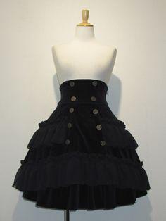 velveteen goth lolita mini skirt
