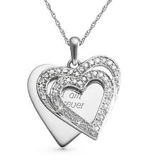 Personalized .33 CT Diamond Double Heart Necklace With Free Keepsake Box, Add Your Message