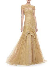 Monique Lhuillier Corded Lace Off-the-Shoulder Gown