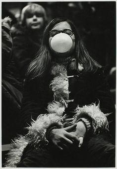 Smile from the 1970s (Child blowing bubblegum by Burns Library, Boston College)