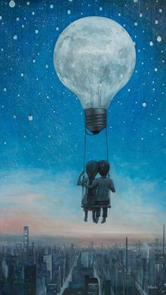 Find someone to share your light with Art And Illustration, Landscape Illustration, Fantasy Kunst, Fantasy Art, Image Nice, Moon Art, Surreal Art, Cute Love, Art Drawings