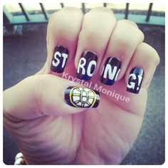 Boston Strong Bruins by krystalmonique from Nail Art Gallery
