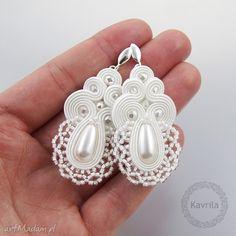 • gustowne kolczyki, biżuteria - kolczyki soutache lace white