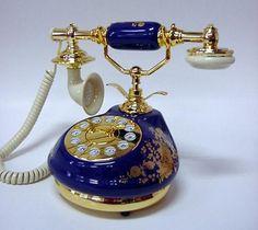 Golden Eagle Blue 8921 Floral Corded Antique Porcelain French Telephone Phone | eBay