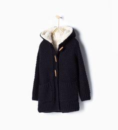 ZARA - NEW IN - Knit three quarter length coat with hood