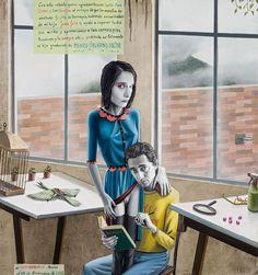 El artista mexicano Gino Rubert versa entre la pintura y el collage con ciertas dosis de humor, perversión, erotismo y muerte, lo que nos transporta a un mundo inquietante y ambiguo, en el que pone a las relaciones familiares y de pareja en situaciones complejas que van más allá de lo cotidiano.
