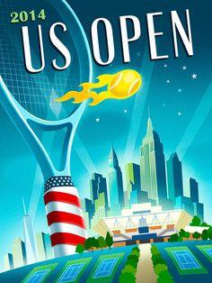 new product 8f8dd ed4d5 2014 US Open Tennis Theme Art on Behance Raqueta, Deportes Tenis, Fundas,  Turismo