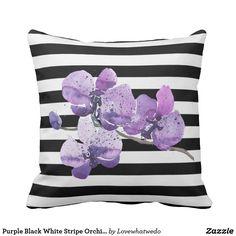 Purple Black White Stripe Orchid Flower Pillow