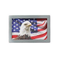 Patriotic Rectangular Belt Buckle #Patriotic #Eagle #BeltBuckle