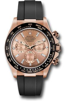 C$42,500.00  40mm 18K Everose gold case, screw-down Everose back, screw-down crown and push buttons with Triplock triple waterproofness, black monobloc Cerachrom bezel with engraved tachymetric scale, scratch-resistant double anti-reflective sapphire crystal, pink dial, 8 baguette-cut and 3 diamond-set hour markers, Rolex calibre 4130 perpetual self-winding movement with chronograph central second hand, 30-minute counter at 3 o'clock, and 12-hour counter at 9 o'clock, approximately 72 hours… Oyster Perpetual Cosmograph Daytona, Rolex Cosmograph Daytona, Rolex Oyster Perpetual, Rolex Daytona, Pre Owned Watches, 3 O Clock, Bridal Jewelry Sets, Breitling, Chronograph
