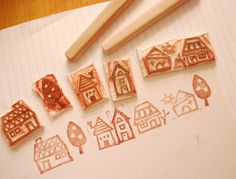 Neighborhood hand carved stamp set