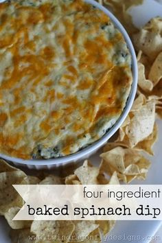 Four Ingredient Baked Spinach Dip Recipe Ingredients: 250 g pkg Philadelphia Cream Cheese {room temperature} 2 cups Tex Mex Shredded Cheese {reserve cup} 100 g Chopped Frozen Spinach {defrosted} 1 cup Sour Cream 1 tsp minced garlic {optional} Easy Appetizer Recipes, Appetizer Dips, Dinner Recipes, Baked Spinach Dip, Easy Spinach Dip, Spinach Dip Cream Cheese, Spinach Dip Recipe Easy, Fresh Spinach Dip, Frozen Spinach Recipes