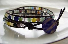 semi-precious stone and leather wrap bracelet $55