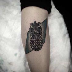 Geometric Dark Pineapple Tattoo