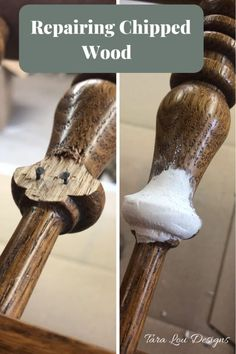 Repairing Chipped Wood * Wood filler on chipped wood furniture restoration Repairing Chipped Wood * Wood filler on chipped wood Furniture Repair, Paint Furniture, Furniture Projects, Furniture Makeover, Wood Projects, Woodworking Projects, Modern Furniture, Furniture Refinishing, Fixing Wood Furniture