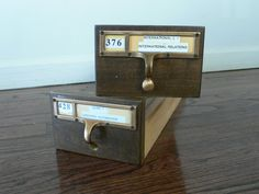 Vintage Library Wood Card Catalog Index File Drawers.