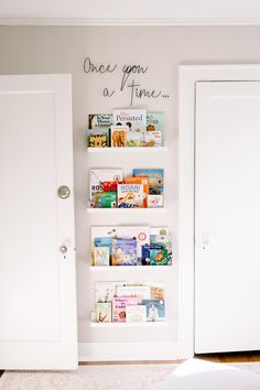 Whimsical Floral Nursery Wall Bookshelves What great use of a small section of wall in a nursery—a perfect spot for wall bookshelves. Baby Room Design, Baby Room Decor, Baby Bedroom, Nursery Design, Playroom Design, Nursery Wall Decor, Diy Nursery Furniture, Kid Decor, Baby Room Art