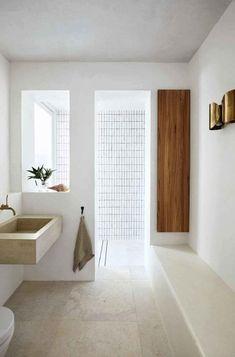 Home Interior Traditional Simple and minimal bathroom design.Home Interior Traditional Simple and minimal bathroom design Minimal Bathroom, Modern Bathroom, Small Bathroom, Bathroom Ideas, Shower Ideas, Light Bathroom, Bathroom Wall, Tropical Bathroom, Stone Bathroom