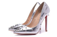 Christian Louboutin 10 CM Silver Patent Leather Silver Spike Pumps