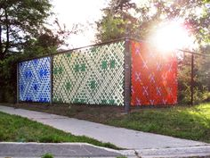 The Wallpapers Outdoor site-specific installation Fence weave and put-in cups on a chain-link fence 2013