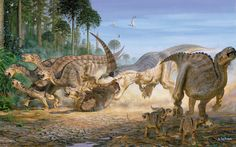 I think this is a T-Rex attacking a herd of Iguanodon but I'm pretty sure Iguanodon were in Europe and the T-Rex I know was Western US