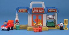 The Little Mart, a gas station with a car wash, tow truck, a shopping cart, and a pay phone, from Fisher Price in the late 1980s