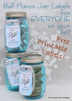 "Ball Mason Jar Labels for EVERYONE on your gift giving list -- free printable labels!  A huge list of free printable gift labels for ""Ball"" jars for every holiday.  Includes neighbors, mom, dad, aunt, uncle, plus many many more!  Must click over to print and see all of the options!"