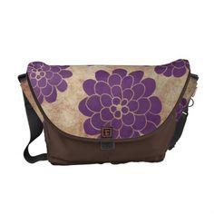 Vintage Purple Dahlia Floral Wedding Courier Bags